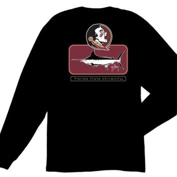ONETOW NCAA Florida State Seminoles Guy Harvey Black Blocked T-shirt