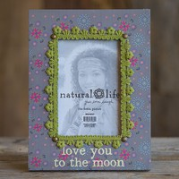 Picture  Frame:  Love  You  to  the  Moon  Crochet  Wood  Frame    From  Natural  Life