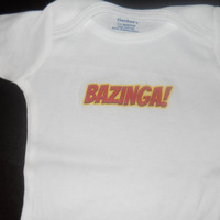 Bazinga Onesuit. Big Bang Theory Inspired. Can Be Customized By Size.