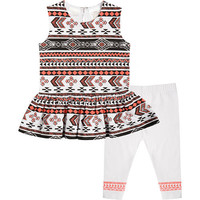 Kardashian Kids Girls 2 Piece Tribal Printed Sleeveless Top with Peplum Hem and Leggings Set