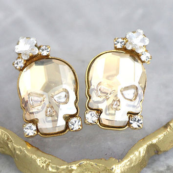 Skull Earrings, Sugar Skull Earrings, Skull Stud Earrings, Gothic Bride Jewelry, Rock N Roll Bride Earrings, Gift For Her, Crystal Earrings