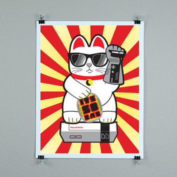 Retro gamer lucky cat maneki neko epic kawaii print