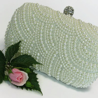 Bridal Pearl Clutch Bag, Wedding Pearl Purse, Bridal Pearl Clutch Bag, White Clutch Purse, Bridesmaid Clutch Bag, Prom Pearl Purse