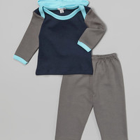 Loralin Design Gray & Navy Hooded Tunic & Pants - Infant | zulily