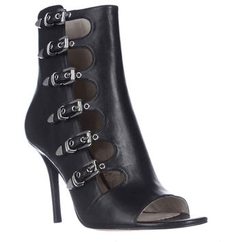 MICHAEL Michael Kors Cassie Buckled Peep-Toe Booties - Black