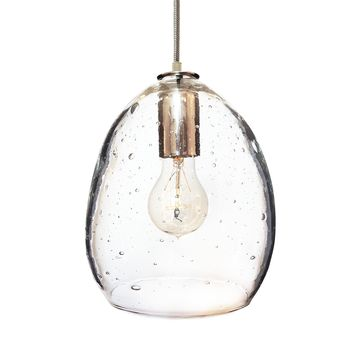 Seeded Hand Blown Glass Orb Pendant Light- Nickel