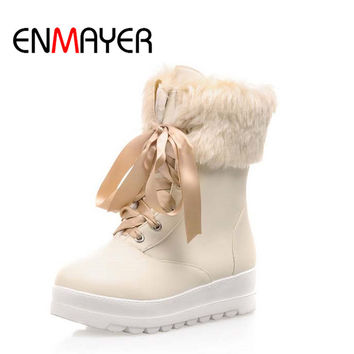 ENMAYER  Black Beiges Pink Snow Boots For Women New Round Toe Med Winter Warm Platform Girl Martin Lace-up Boots Shoes Women