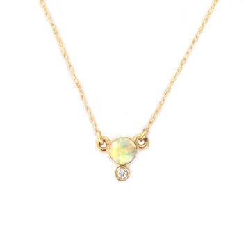 14kt Gold Opal and Diamond Drop Pendant