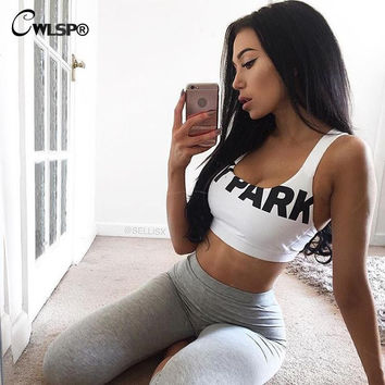 Women Sexy Crop Top Beyonce Tank Top Ivy Park Letter Cropped Tops Halter Bodycon Bra Vest Haut Femme Fitness Mujer Cloth QA1224