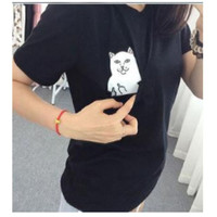 New Womens Mens Cute Cartoon Cat T Shirt with Pocket Casual Tops Gift
