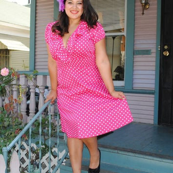 Womens, Ruffled V neck ,Plus Size Dress PINK Polka Dot Rockabilly, Pin Up, Retro style