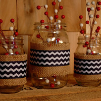 Chevron set of 3 Mason Jars decorated with Chevron ribbon and burlap