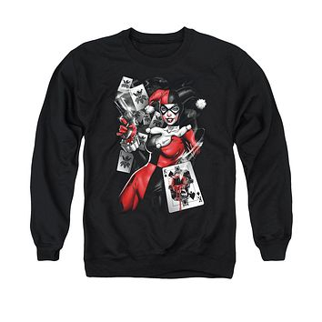 Batman DC Comics Harley Quinn Smoking Gun Mens Crewneck Sweatshirt Black Md