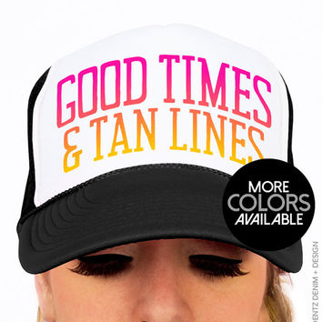 Good Times and Tan Lines - Snapback Hat -  Trucker Hat - Black Pink and Blue Neon Hats