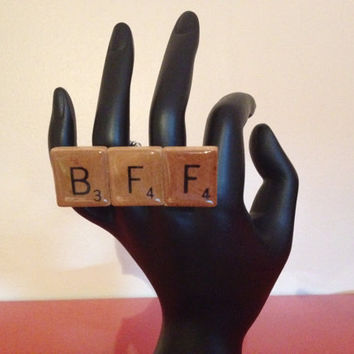BFF Two Finger Scrabble Tile Ring