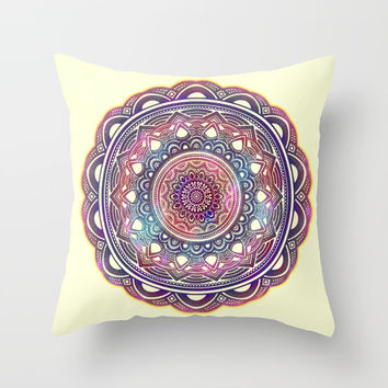 MANDALA MULTI COLOR STARRY GALAXY Throw Pillow by AEJ Design