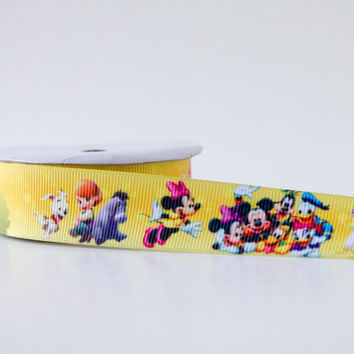 """1"""" inch Disney Mickey and Minnie Mouse Cartoon Characters Grosgrain Ribbon - Polyester - 5 yard"""