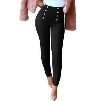 Joggers Women Slim Faux Suede Trousers Solid Buttons Side Zipper Elegant Fitness Skinny Pencil Pants sweatpants female pants