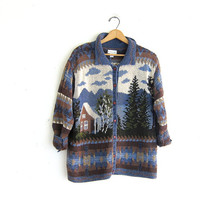 vintage sweater cardigan. cotton knit cardigan. preppy cardigan sweater with mountain scene.