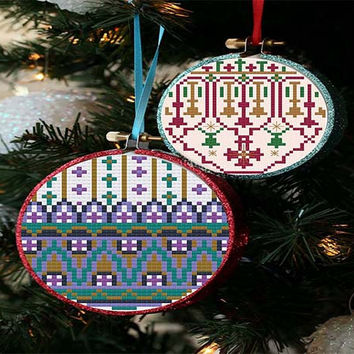 Modern Christmas Ornaments - 2 cross stitch patterns one low price crafting  - pdf chart pattern -  -INSTANT DOWNLOAD