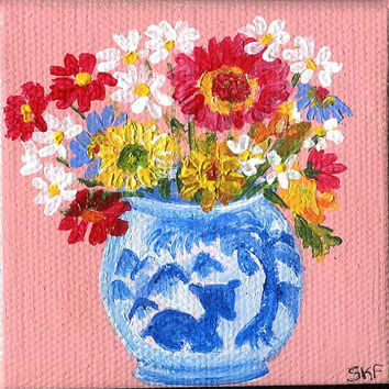 Shasta and Gerbera Daisies Original mini painting on Canvas with Easel, blue and white vase, original miniature artwork
