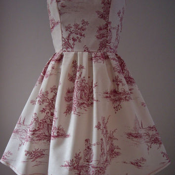 Cotton Strapless Red and Cream Toile Dress.