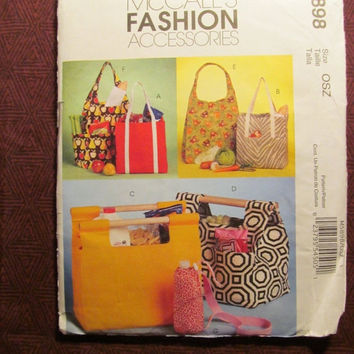 SALE Uncut McCall's Sewing Pattern, 5898! Arts & Crafts Fashion Accessories/Handbags/Diaper Bats/Purses/Picnic Bags/Totes/Bottle Carrier