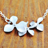 Orchid Necklace - sterling silver, triple orchid necklace, silver orchid necklace, silver flower necklace
