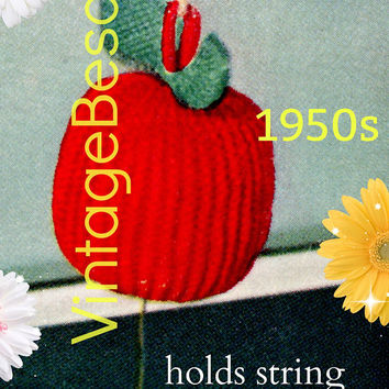DIGITAL PATTERN • APPLE String Holder Knitting and Crochet Pattern • PdF Pattern • Vintage 1950s • Cord Holder • Retro String Dispenser Gift