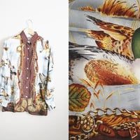 Duck Hunt - Vintage 90s Duck Print Kitschy Oversized Blouse Shirt