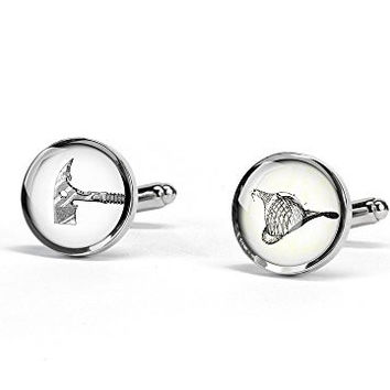 Handmade vintage fireman hat and axe cufflinks - Free shipping - 2/3 Inches(17mm) Silver by MyResinJewelry