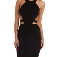 Black Cut-Out Caged-Back Halter Dress by Charlotte Russe