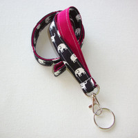 Lanyard Id Holder Key Leash badge holder dark navy white elephants Sangria red