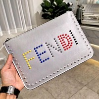 Fendi tide brand female rivets letter high quality envelope bag