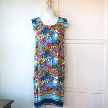 Amazing Peter Max-Style Psychedelic Print Dress w/ Orange/Hot Pink/Blue Flowers/Hearts/Stripes; Women's Medium Rayon '60s Sheath
