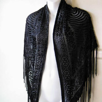 Mysterious Vintage Black Burnout Scarf; Velveteen w/ Fringe; Large Enough for Shawl/Wrap/Bohemian/Gypsy Decor; U.S. Shipping Included