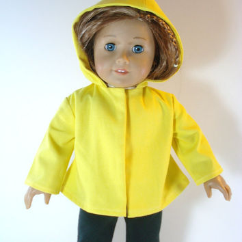 American Girl Jacket, Yellow Hooded Jacket,  Spring, Easter Jacket fits 18 Inch Dolls