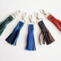 Genuine leather tassel keychain bag accessories