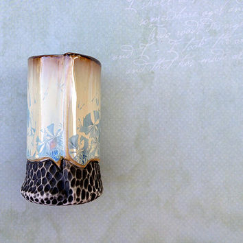"""Crystalline Glaze Shot Glass in Ivory White w/ Deep Blue Blooms, """"Double Shot"""" Sized Porcelain Cup, One of a Kind. 3.25 in. tall. Food Safe"""