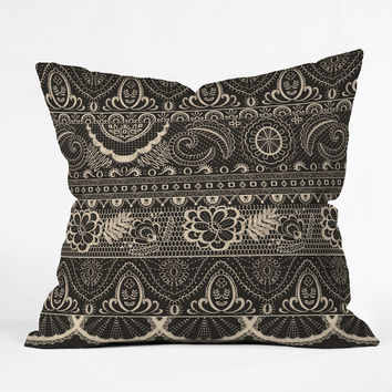 Pimlada Phuapradit Lace drawing charcoal and cream Outdoor Throw Pillow