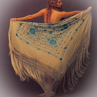 Huge silk embroidered fringed piano shawl // square white and blue floral oriental bridal wrap / Stevie nicks kimono Deco Gatsby boho hippie