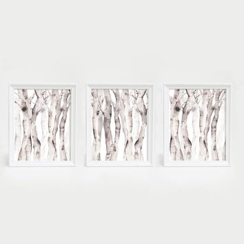 Modern Aspen Birch Tree Watercolor Triptych Wall Art Print