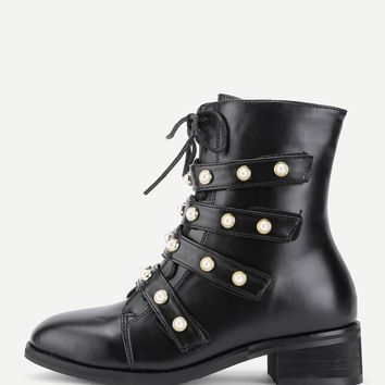 Faux Pearl Strap Front Lace Up Boots