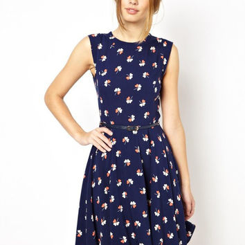 Dark Blue Clover Print Sleeveless Dress