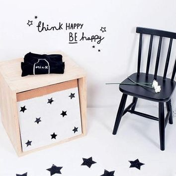 """""""think happy be happy"""" Motto Proverbs DIY Wall Sticker For Baby Room Living Room Bedroom Minimalism Nordic Style Home Wall Decal"""