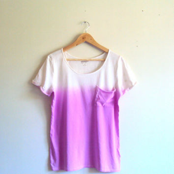 Tie Dye Ombre Purple T-Shirt  Beachwear Hand Painted Pocket Blouse Shibori Art Festival Top Dip Dye Yoga Workout Fitness Running Top