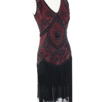 Burgundy Black Beaded Fringed Flapper Dress
