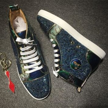Cl Christian Louboutin Rhinestone Style #1956 Sneakers Fashion Shoes