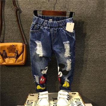 Free shipping 2017 new spring autumn fashion children jeans boys hole denim casual pants cartoon baby baby pants