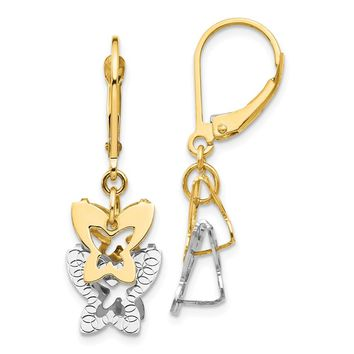 14k Yellow and White Gold Two-tone Diamond Cut Butterfly Leverback Earrings Length 33mm